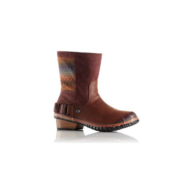 Sorel - Womens Slimshortie Blanket Boot - Sale Madder Brown/Bonfire 9