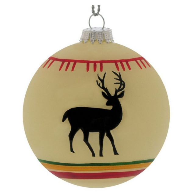 Outside Inside - White Deer Blanket Ball Ornament