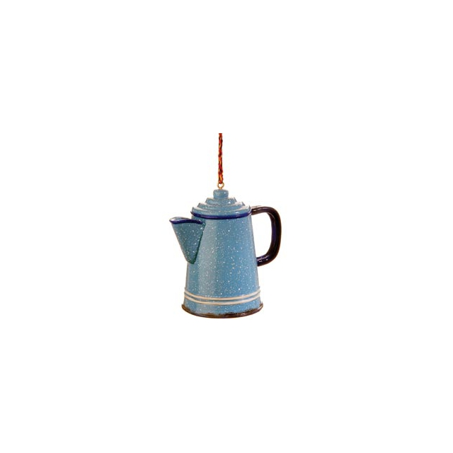 Outside Inside - Granite Coffee Pot Ornament - Blue