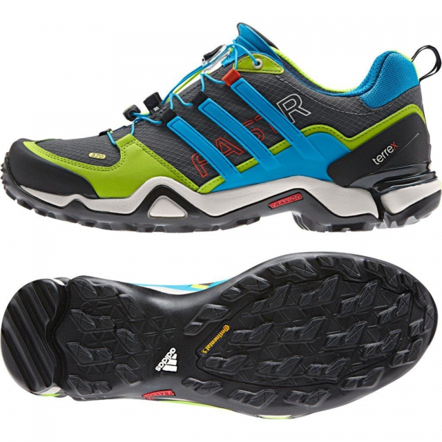 Adidas - Terrex Fast R Hiking Shoe - Men's Solid Grey/Solar Blue/Semi Solar Slime - 10