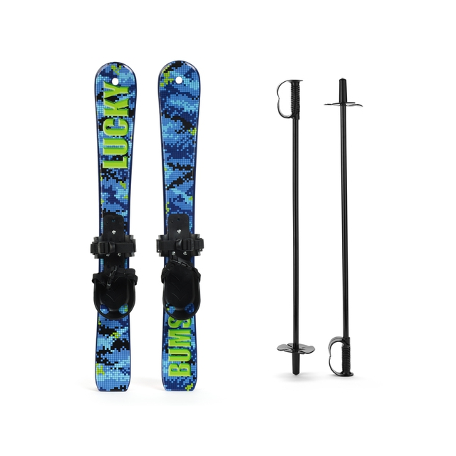 Luckybums - - Snow Kids Skis And Poles - Digi Blue