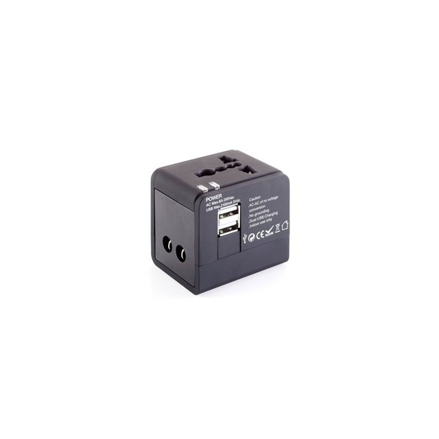 Talus - International Adapter Cube with Dual USB Chargers - Black