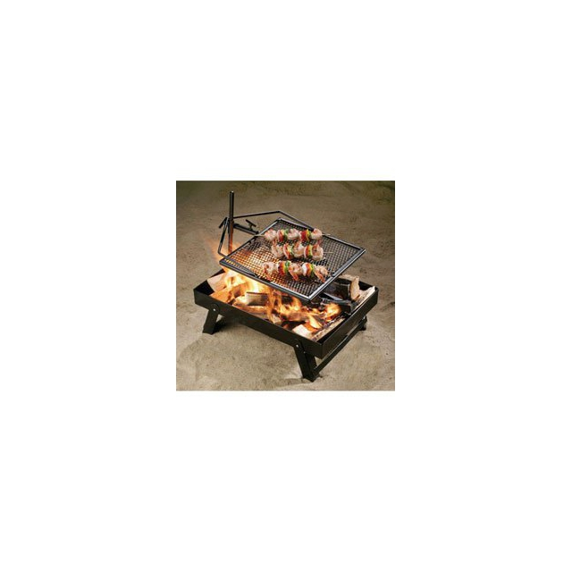 Panacea Inc - The AdjustAGrill - Campfire To Go - Fire Pan Combo Contained Campfire and Cooking System - Black