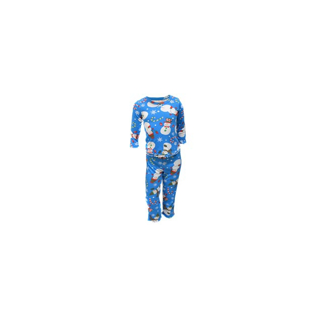 Sara's Prints - Sara's Prints Girl's Cotton Blend Flame Resistant Ruffled Snowman Pajamas - Snowmen In Size