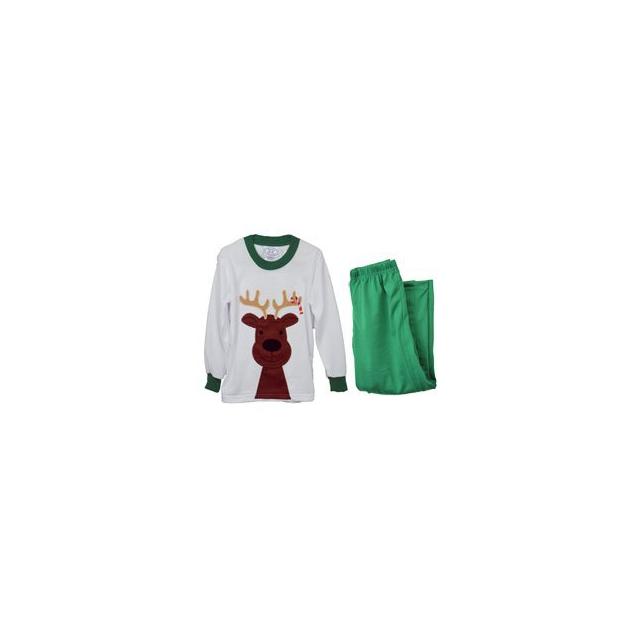 Sara's Prints - Sara's Prints Reindeer Pajamas - White In Size: 2