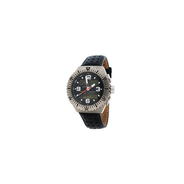 St. Moritz - Momentum by St Moritz watch corp Format 4 Titanium Watch with Leather Band - Black