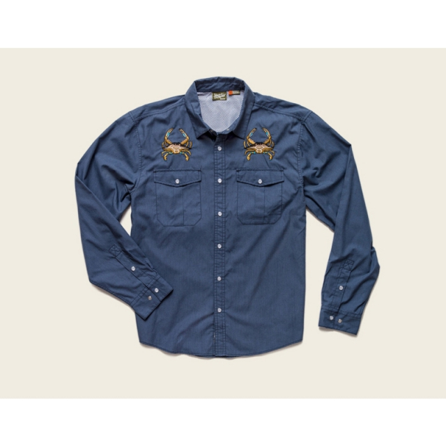 Howler Brothers - Mens Gaucho Snapshirt - Sale Midnight Blue: Crab