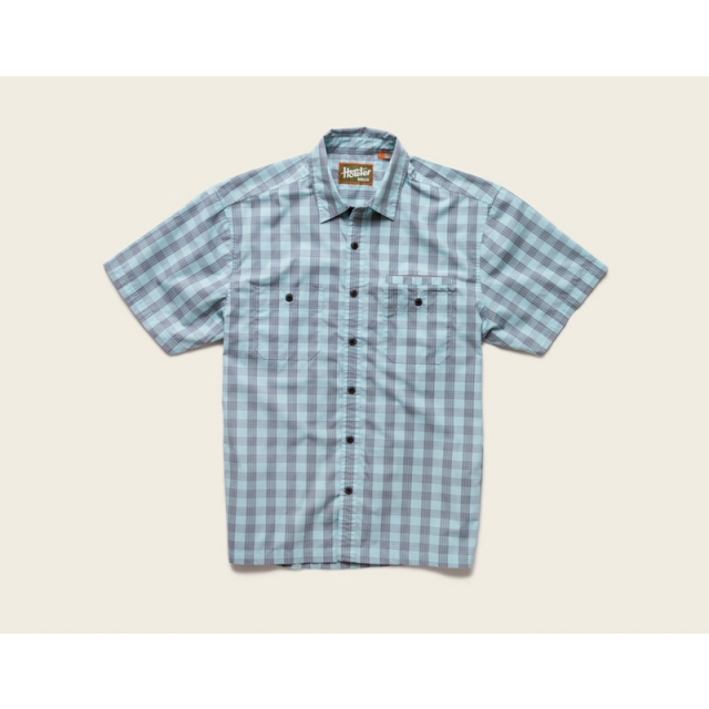 Howler Brothers - Mens Aransas Short Sleeve Shirt - Closeout Palaka Plaid:Surfmist/Grey