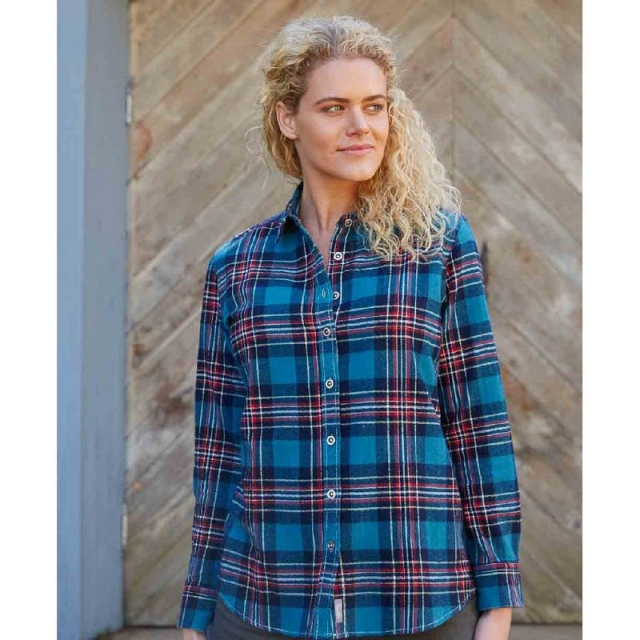 Purnell - Women's Turqoise and Navy Flannel Plaid Shirt