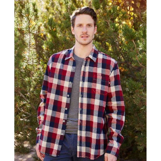 Purnell - Men's Burgundy Navy Plaid Flannel Shirt