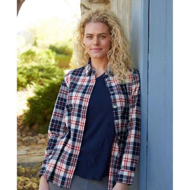Purnell - Women's Navy & Cream Flannel Plaid Shirt