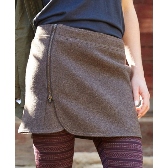Purnell - - BROWN WOOL ZIP SKIRT - 12 - Brown