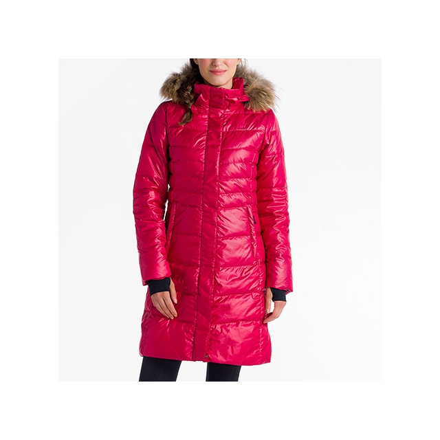 Lole - Womens Katie Jacket Real Fur Speckled Red Sea