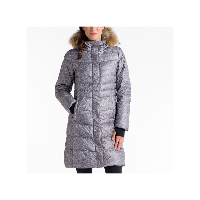 Lole - womens katie jacket real fur speckled dark charcoal small