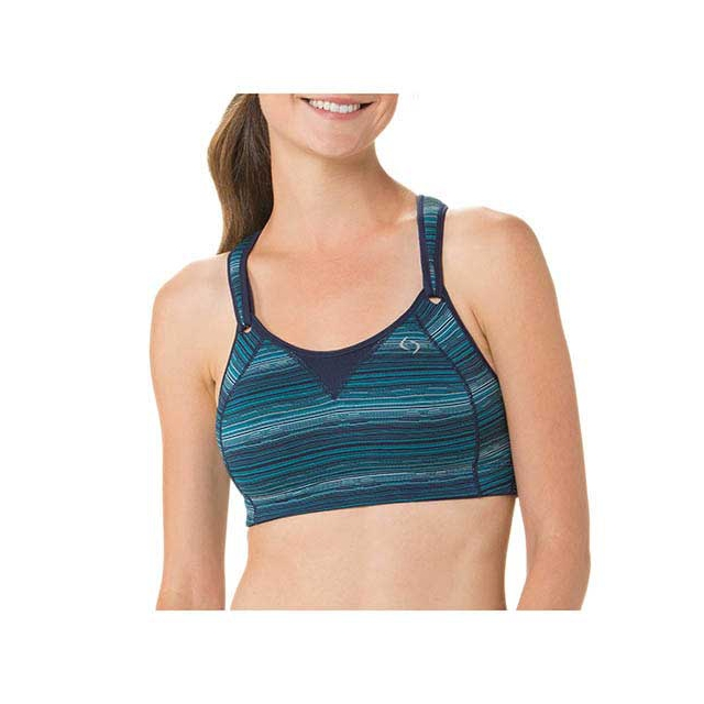 Moving Comfort - Rebound Racer Sports Bra - Women's: Navy Jacquard, 32B