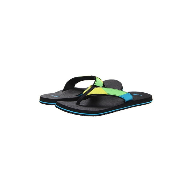 Sanuk - Mens Block Party - New Lime/Turquoise 11