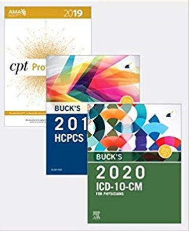 Bucks 2020 ICD-10-CM Physician Edition, 2019 HCPCS Professional Edition and AMA 2019 CPT Professional Edition Package Cover Image