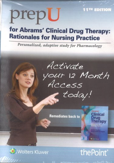 PrepU for Abrams Clinical Drug Therapy: Rationales for Nursing Practice. Access Code 12-Month Activation Cover Image