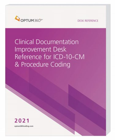 Clinical Documentation Improvement Desk Reference for ICD-10-CM and Procedure Coding 2021. Includes Clinicians Checklist for ICD-10-CM Brochure Cover Image