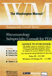 Washington Manual Rheumatology Subspecialty Consult for PDA on CD-ROM for Palm OS, Windows CE and Pocket PC Image