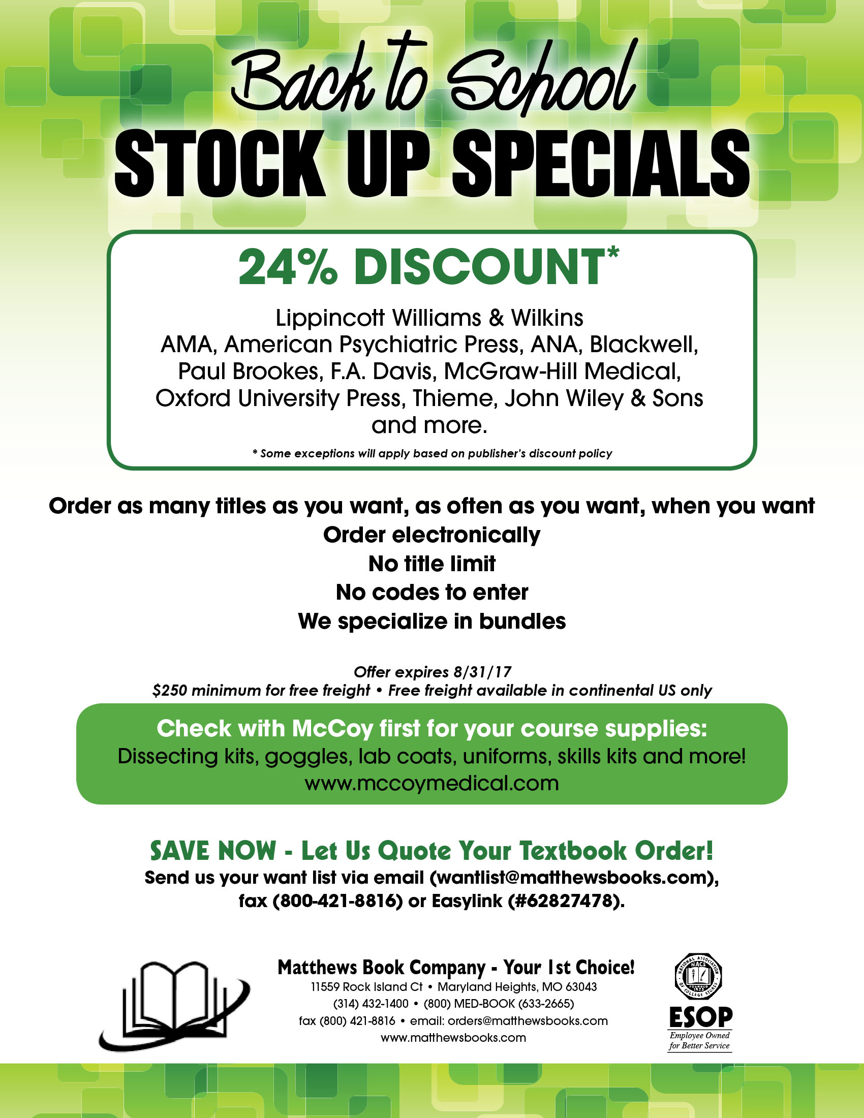 Back to School Stock Up Specials