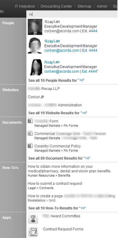 Acorda intranet employee search list open and zoomed in on