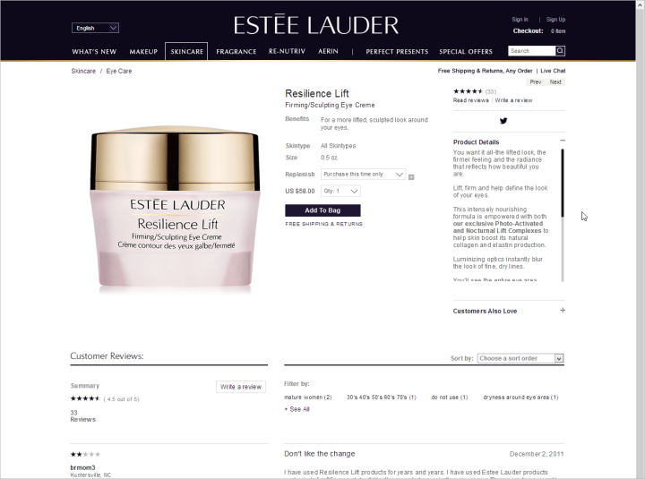 A full product description in a small, scrolling window on Estee Lauder's site