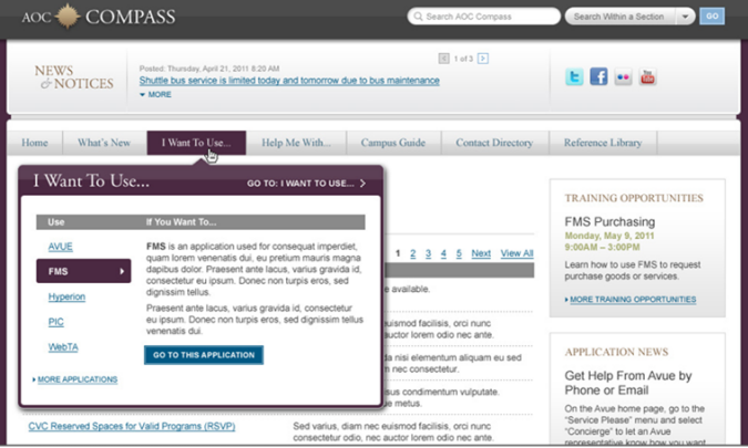 Screenshot of the Architect of the Capitol intranet showing descriptive text accompanying menu labels