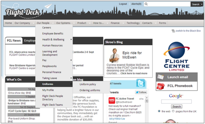 Screenshot of the Flight Centre intranet with a dropdown menu from the global navigation