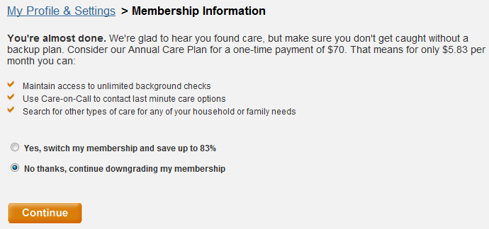 car.com message says you're almost done, but shows benefits of keeping the mebership