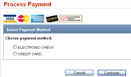 electronic check and credit card radio buttons are both blank