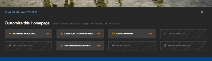 Bucknell's customize the homepage section