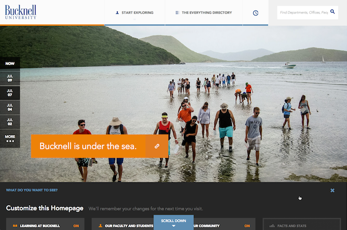 Bucknell University's redesigned homepage