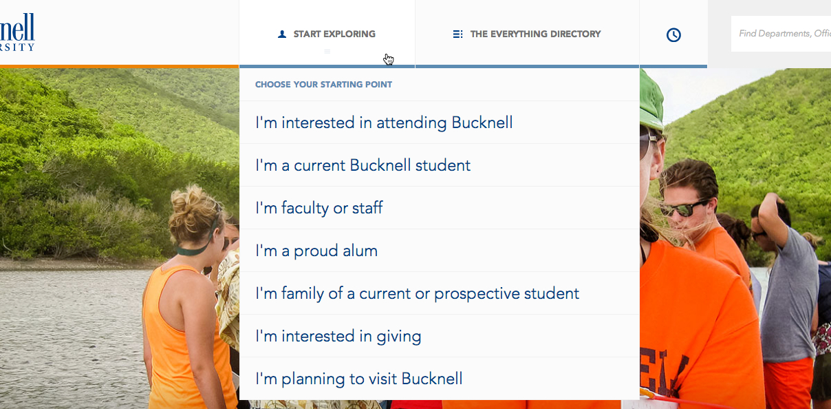 Bucknell's global navigation categories