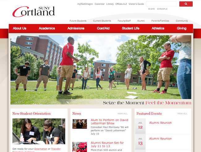 SUNY Cortland's traditional homepage