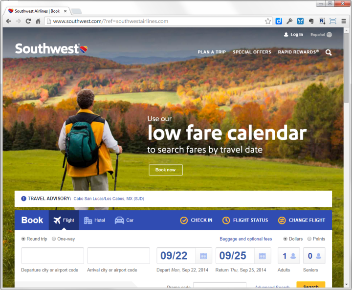The new homepage of Southwest Ailrines