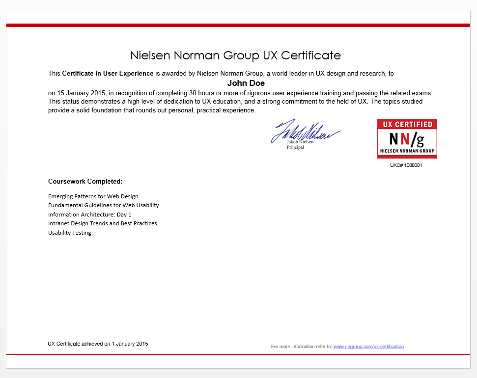 Example UX Certificate