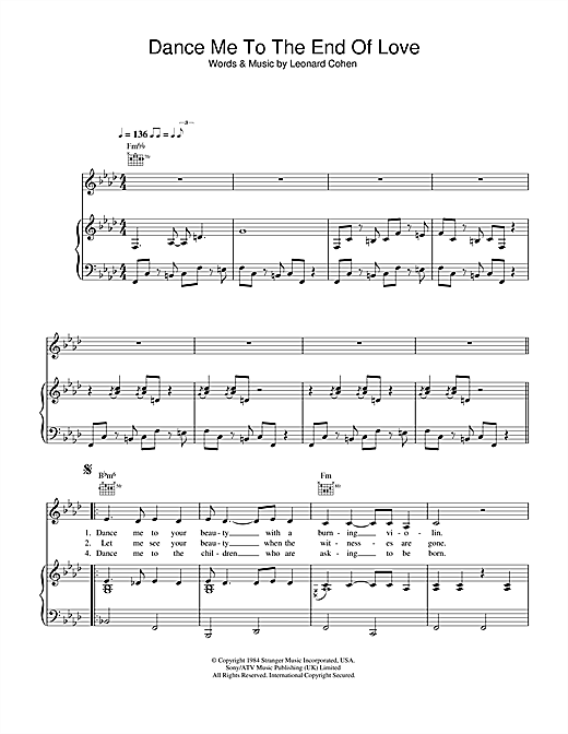 Dance Me To The End Of Love - musicalscoredownload