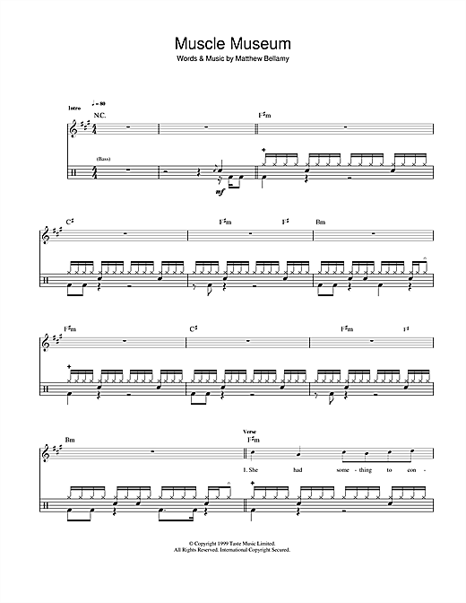 Muscle museum drum tab by by muse drums 42110
