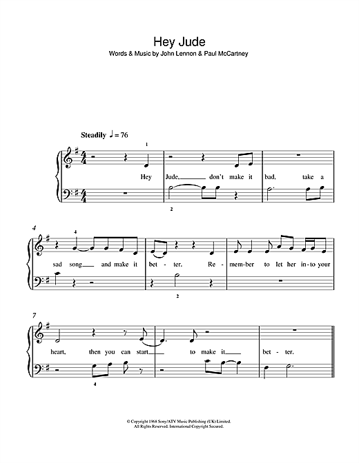 Outstanding Hey Jude Chords Piano Component - Song Chords Images ...