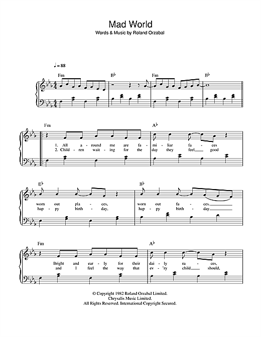 Vocal sheet music, chords, and vocals for mad world gary jules, mad world, gary jules mad world, sheet music