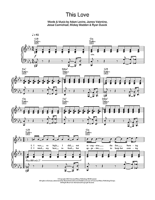 Maroon 5 This Love Piano Chords Images