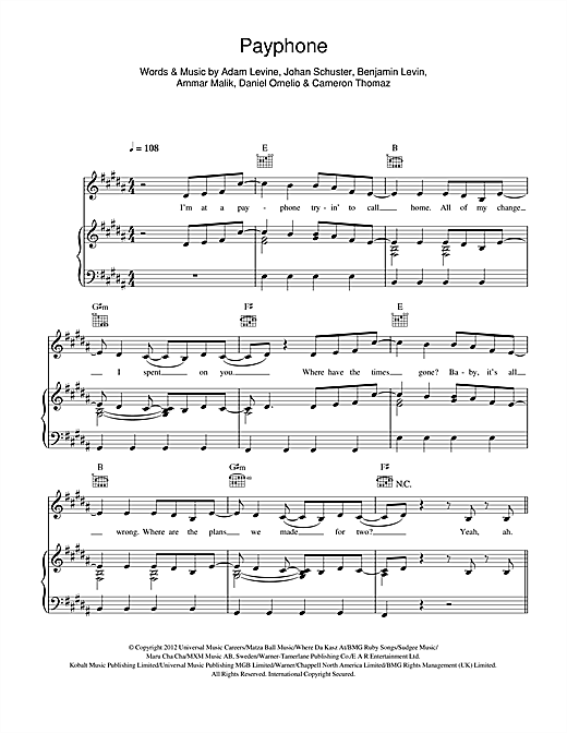 Payphone Sheet Music Download Safetydiversified