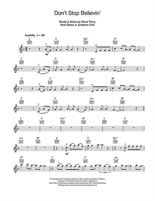 Perfect Don T Stop Believing Chords Frieze - Beginner Guitar Piano ...