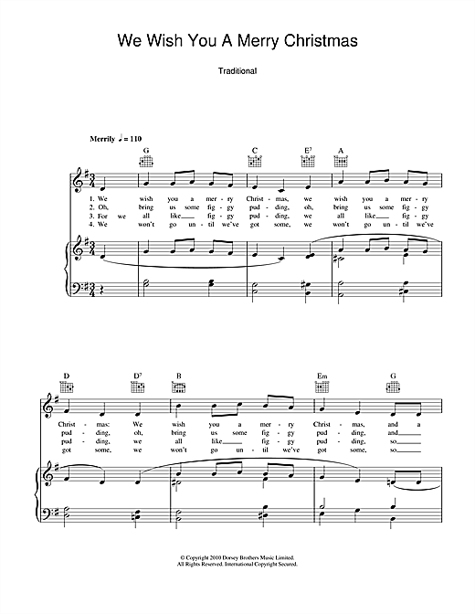 Piano tabs we wish you merry christmas