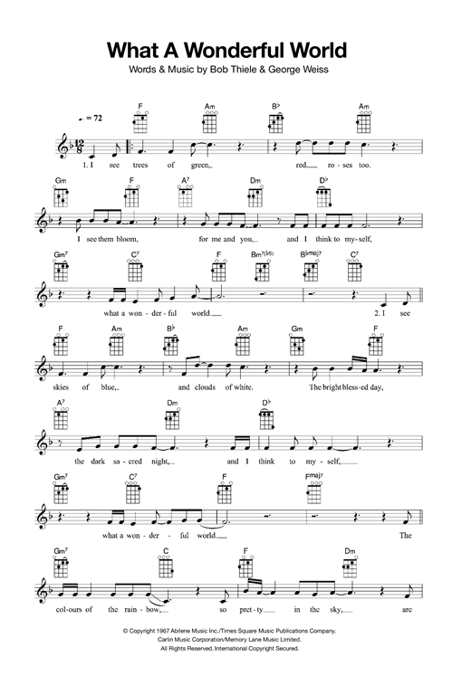 Ukulele chords what a wonderful world