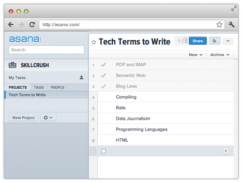 Screenshot of Asana Web Applicaiton