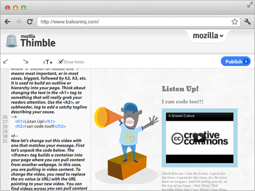 Screenshot of Mozilla's Thimble