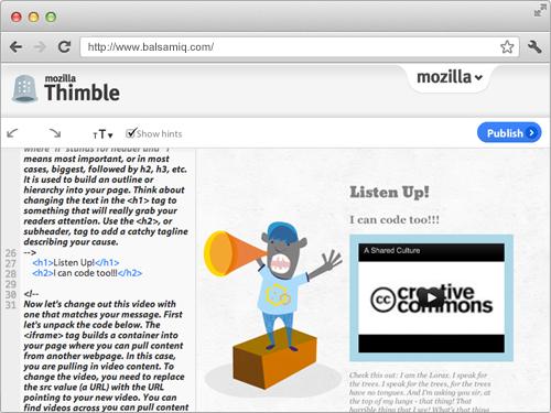 Screenshot of Mozilla's Thimble
