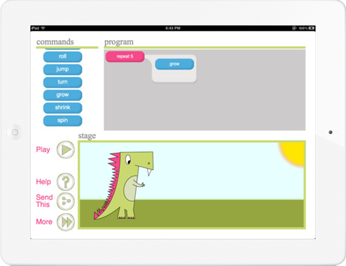 Screenshot of Hopscotch's Daisy the Dinosaur